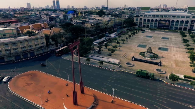 Aerial View of Giant Swing (Sao Chingcha) and traffic jam video