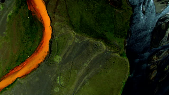 Aerial View of Glacial River Sediments, Iceland video
