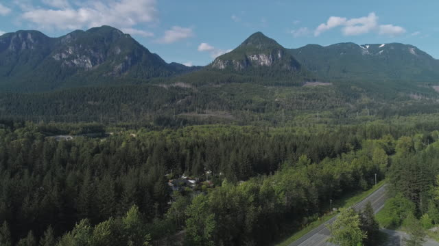 Video Aerial view of Golden Bar, the small town in mountains in Washington State, Northwest USA. Drone video with the wide-orbit, panoramic camera motion.