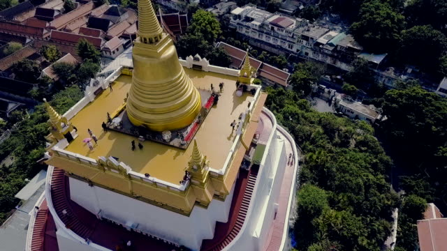 Aerial View of Golden Mount Bangkok Temple video