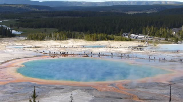 Aerial view of Grand Prismatic Spring in Midway geyser basin, Yellowstone National Park, Wyoming, USA