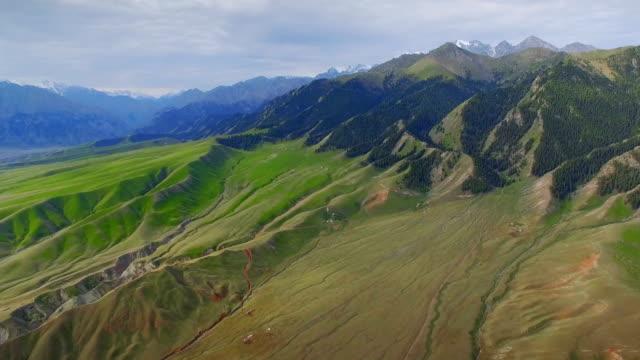 Aerial view of grassland in Tianshan Mountain,Xinjiang,China.