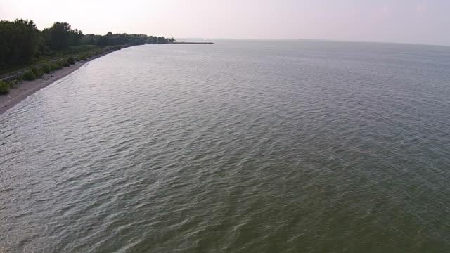 luftbild des green lake erie während algen bloom - algen stock-videos und b-roll-filmmaterial