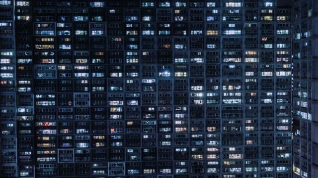 t/l ws aerial view of grid apartment/peking, china - bevölkerungsexplosion stock-videos und b-roll-filmmaterial