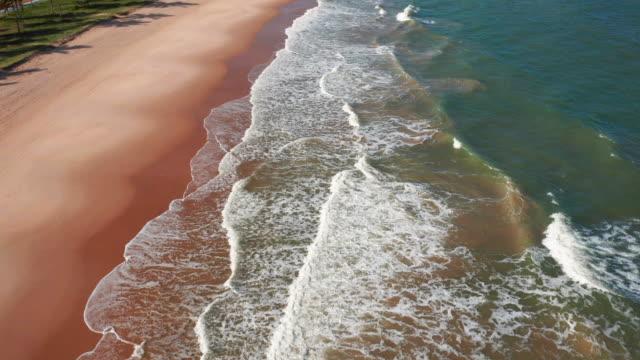 vídeos de stock, filmes e b-roll de vista aérea da praia de guarajuba, bahia, brasil - nordeste