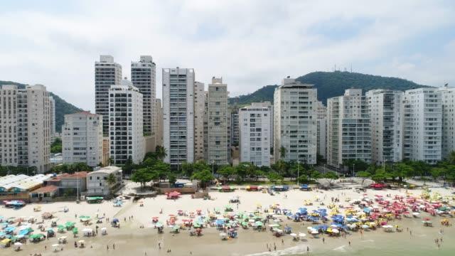 Aerial View of Guaruja Beach in Sao Paulo, Brazil