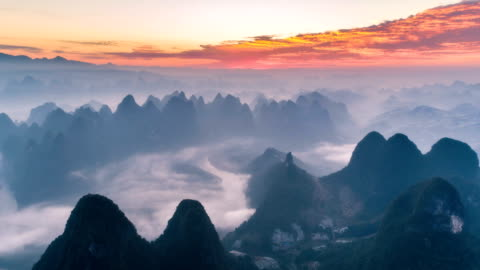 Aerial View Of Guilin - Time Lapse Aerial View Of Guilin - Time Lapse mountain stock videos & royalty-free footage