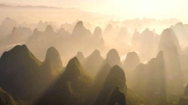 aerial view of guilin - coprire video stock e b–roll