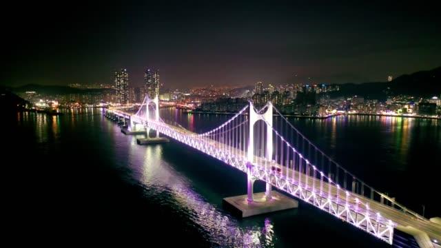 Aerial view of Gwangan Bridge with Busan City at night, South Korea