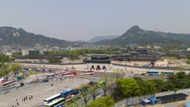 Aerial view of Gwanghwamun Gate, time lapse Aerial view of Gwanghwamun Gate, time lapse gyeongbokgung stock videos & royalty-free footage