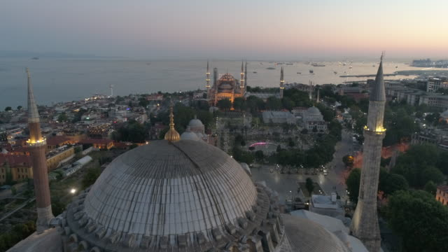 Aerial view of Hagia Sophia and Sultanahmet Blue Mosque at Sunrise in Istanbul