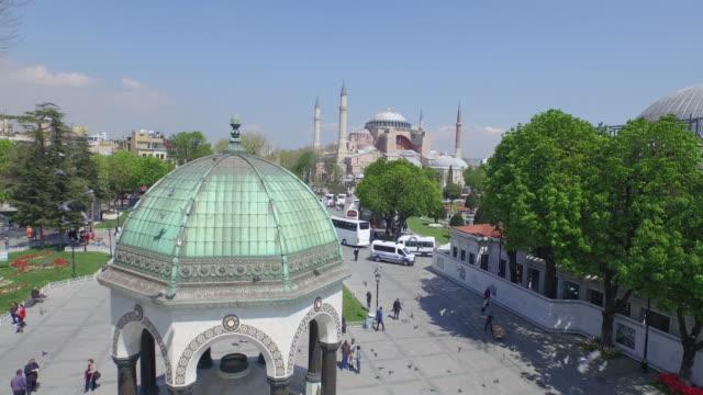 Aerial view of Hagia Sophia in Istanbul, Turkey video
