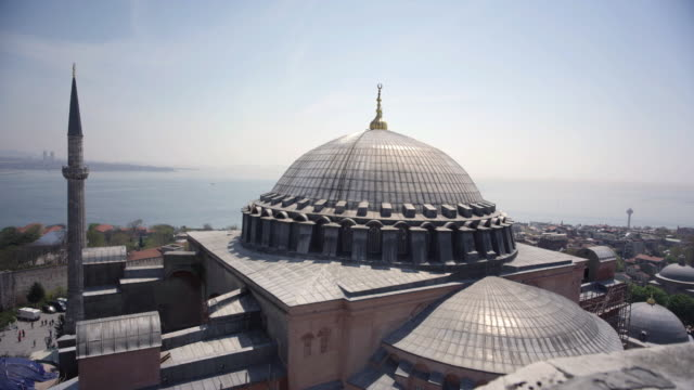 Aerial View of Hagia Sophia Mosque and Museum in Istanbul video
