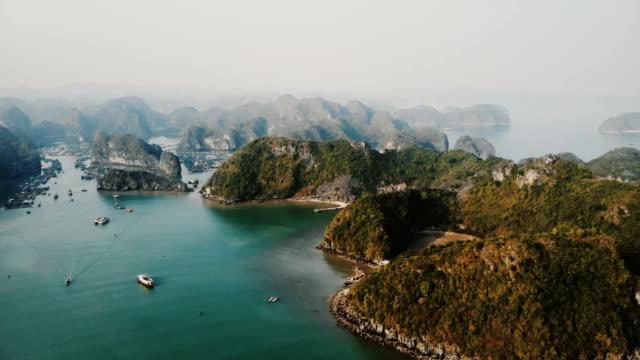 aerial view of halong bay in vietnam - ultra high definition television filmów i materiałów b-roll