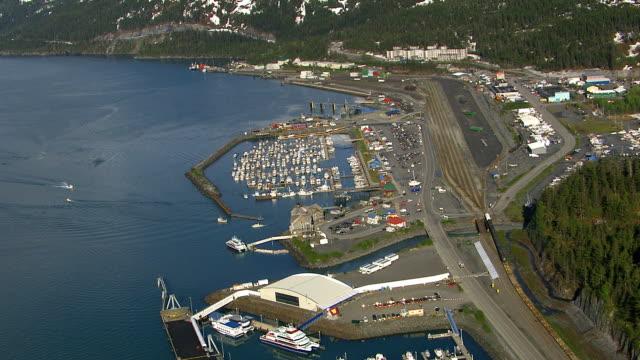 Aerial view of harbor, Valdez, Alaska