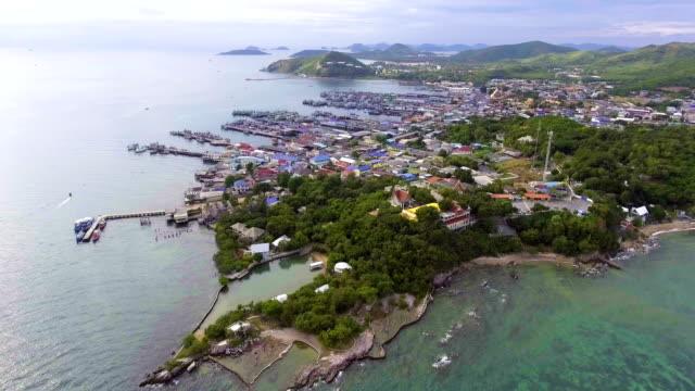 Aerial View of Harbor with Jitty along Coast with Drone. Dolly shot. video