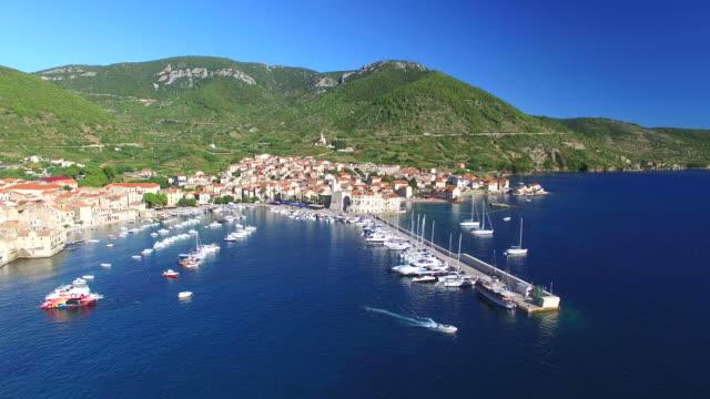 Aerial view of harbour in Komiza, Croatia video