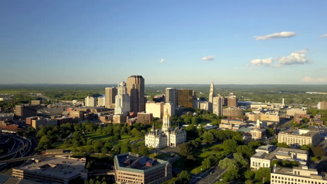 Aerial view of Hartford, CT skyline Aerial video of Hartford, CT skyline on late afternoon, western view, Capitol and Bushnell Park included. connecticut stock videos & royalty-free footage