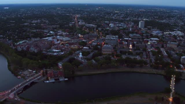 Aerial view of Harvard University at dusk video