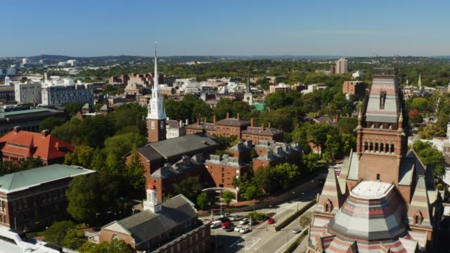 Aerial view of Harvard university in Cambridge Aerial view of Harvard university in Cambridge, famous destination of Massachusetts, city of students, travel to Northeast of USA, beautiful parks and nature campus stock videos & royalty-free footage