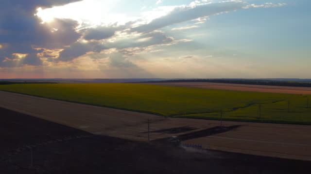 Aerial view of harvest fields with tractor on sunset, video Aerial view of harvest fields with tractor on sunset, video harrow agricultural equipment stock videos & royalty-free footage