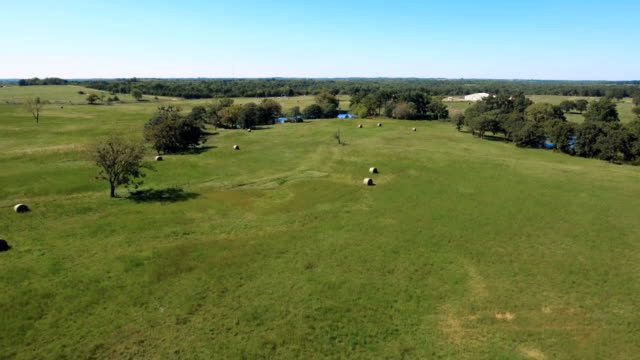 Aerial View of Hay Bales and Water in Rural Pasture video