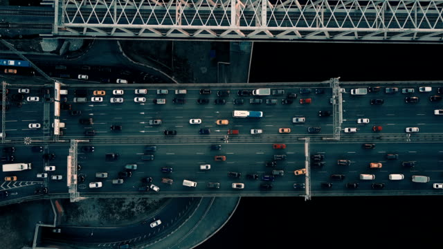 Aerial view of highway and traffic video