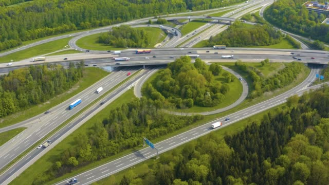 aerial view of highway, autobahn cross road kreutz vaihingen stuttgart - autobahn video stock e b–roll