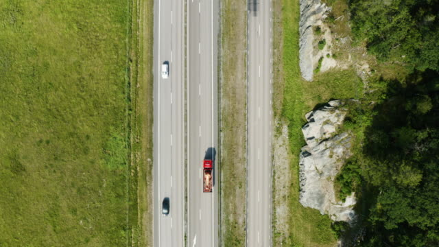 Aerial view of Highway in Sweden - Directly Above
