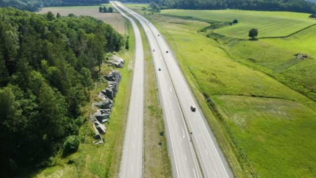 Aerial view of Highway in Sweden