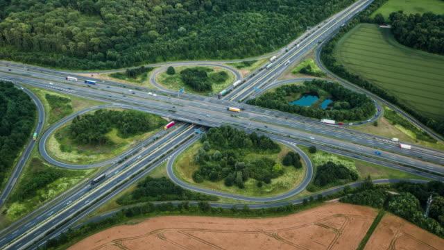 Aerial View of Highway Interchange video