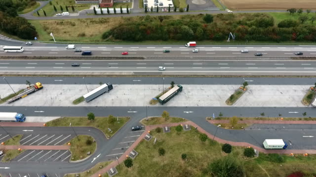 Aerial view of highway rest area video