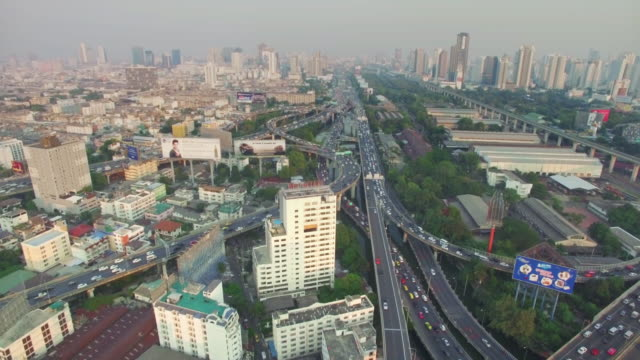 Aerial View of Highway traffic in Bangkok Thailand video