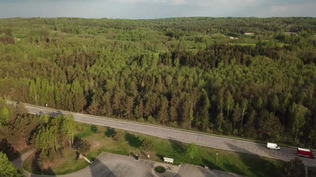 aerial view of highway - lituania video stock e b–roll