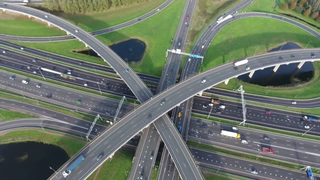 aerial view of highways junction, netherlands - dutch architecture stock videos & royalty-free footage