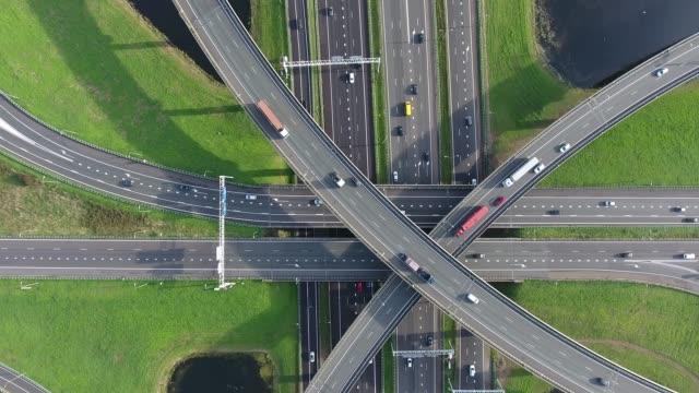 Aerial view of highways junction, Netherlands