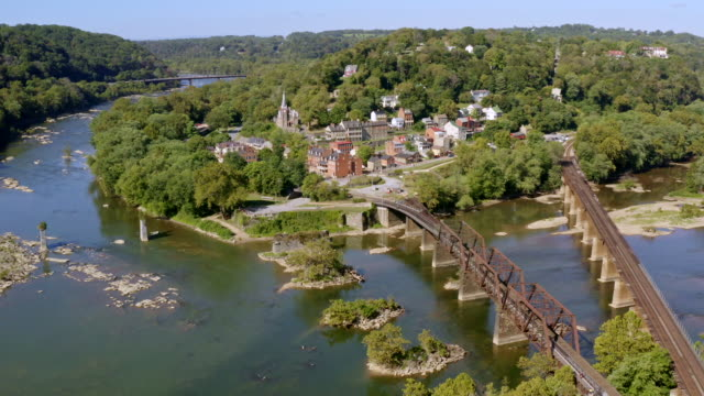 Aerial View of Historic Harper's Ferry, West Virginia. Civil War-Era Small Town. Aerial View of Harper's Ferry National Park and Small Civil War-Era Town in West Virginia. Junction of the Shenandoah and Potomac Rivers. tramway videos stock videos & royalty-free footage
