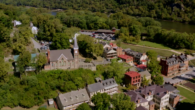 Aerial View of Historic Harper's Ferry, West Virginia. Civil War-Era Small Town.