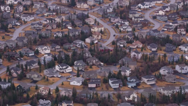 Aerial view of homes in Anchorage, Alaska.