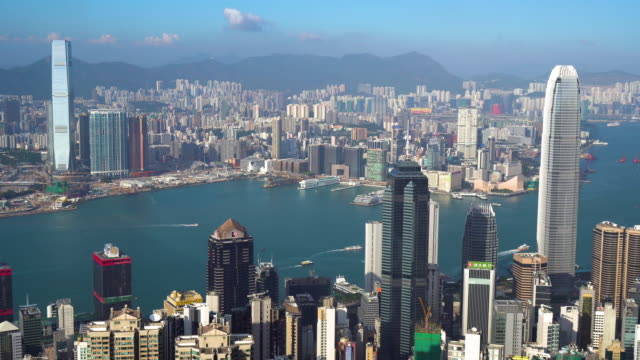 ms ha aerial view of hong kong skyline / hongkong, china - establishing shot stock-videos und b-roll-filmmaterial