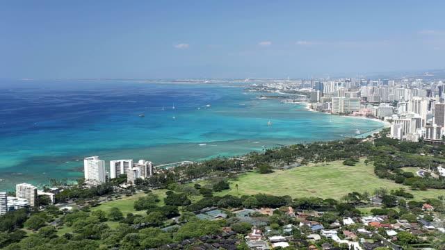 aerial view of Honolulu Hawaii from top of diamond head mountain video