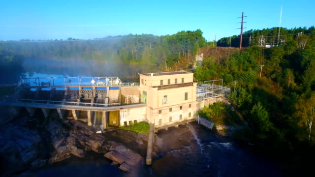 Aerial view of hydroelectric dam video