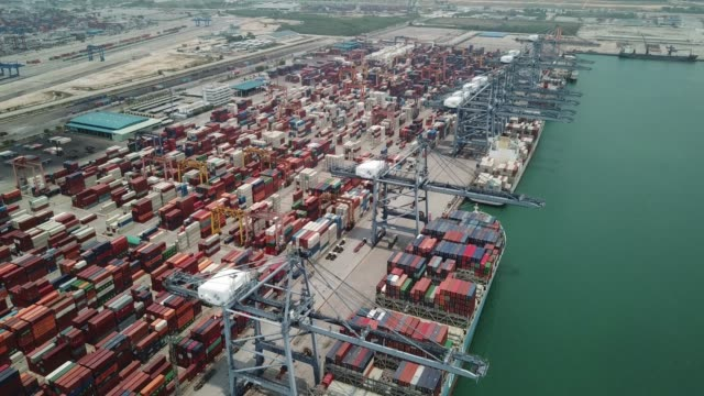 Aerial View of Industrial port video