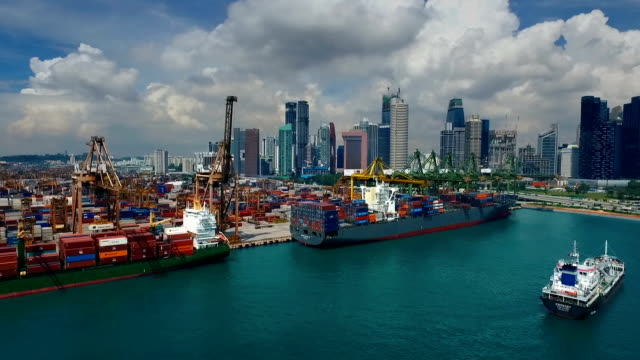 Aerial View of Industrial port with containers ship,Singapore video