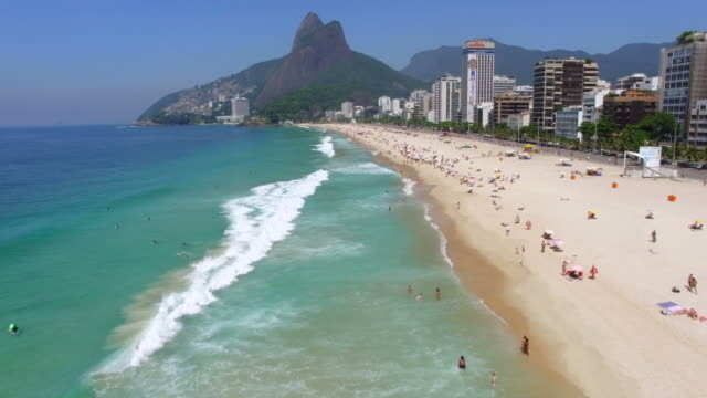 Aerial View of Ipanema Beach in Rio de Janeiro, Brazil Aerial view of Ipanema Beach in Rio de Janeiro, Brazil. brazil stock videos & royalty-free footage