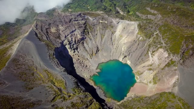 Aerial view of Irazu volcano crater lake in Costa Rica. video