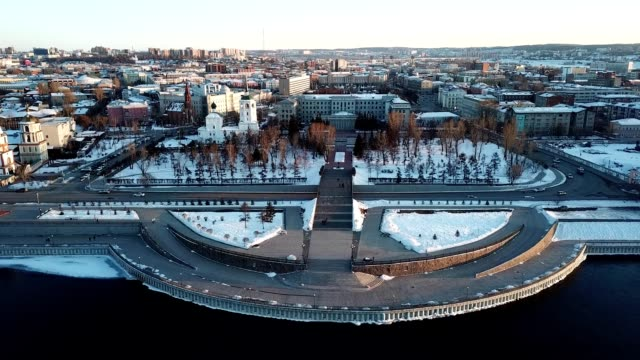 vídeos de stock e filmes b-roll de aerial view of irkutsk cityscape with angara river. beautiful view of the city from drone. - irkutsk