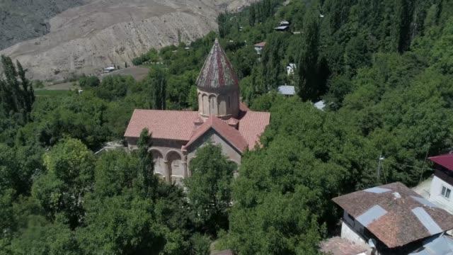 Aerial view of Ishkhani(ishan) monastery/Artvin,TURKEY