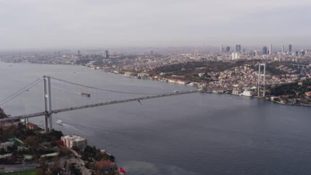 Istanbul Boğaziçi Köprüsü, Türkiye'nin havadan görünümü. video