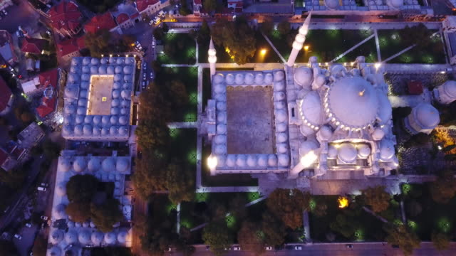Aerial view of Istanbul Suleymaniye Mosque at sunset